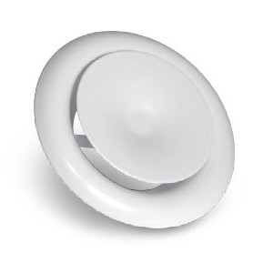 Grille Aération / Diffusion Circulaire Plastique + Molette régulation débit  diam. 125 mm