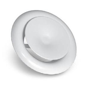Grille Aération / Diffusion Circulaire Métal + Molette régulation débit diam. 125 mm